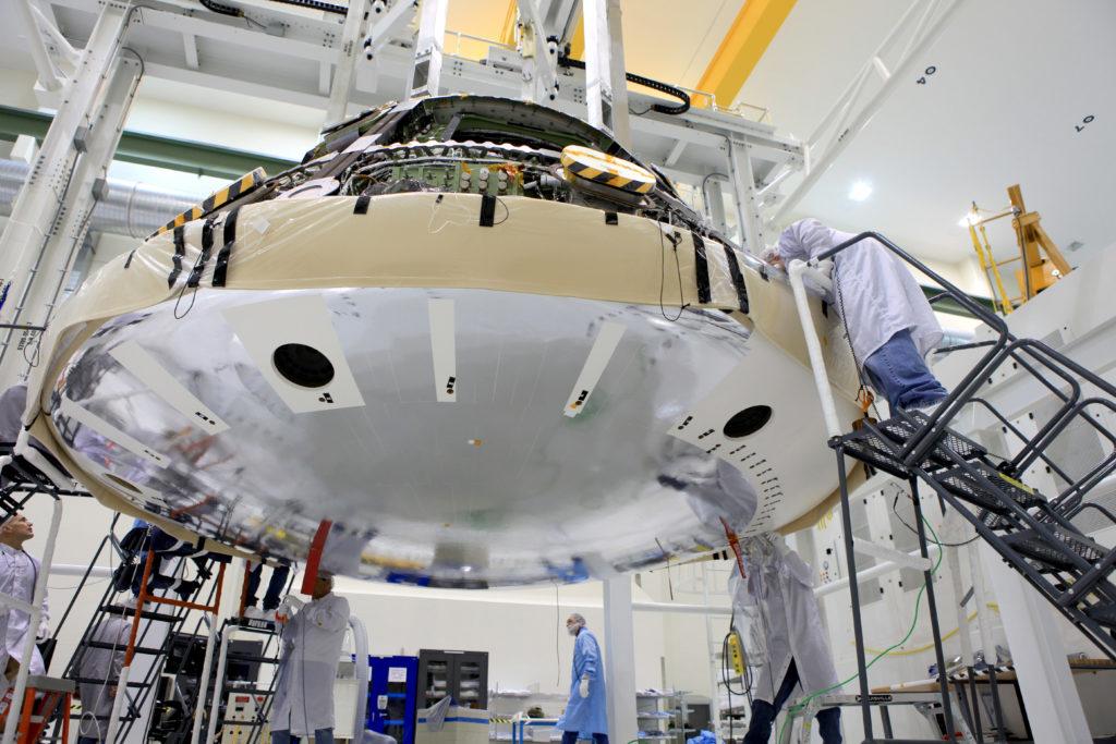 Lockheed Martin Orion heat shield installation