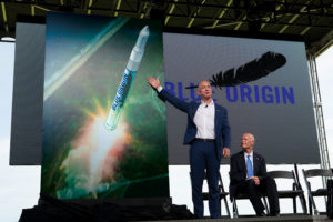 Jeff Bezos and Gov. Rick Scott announce Blue Origin will assemble and launch Blue Origin rockets from the Space Coast.