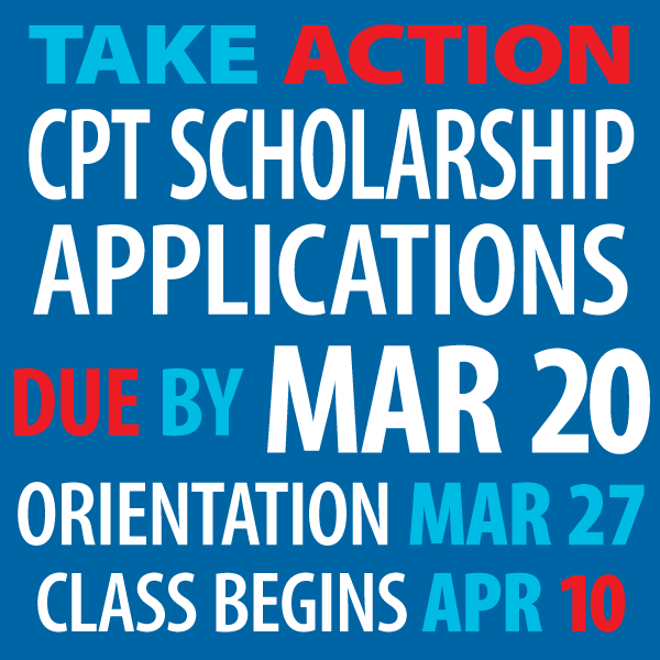 CPT Scholarship applications graphic March 21